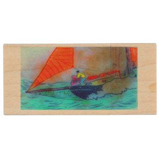 red sail schooner maple usb drive wood USB 3.0 flash drive