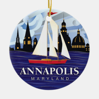 Red Sailboat Annapolis MD Coastal Christmas Ornament