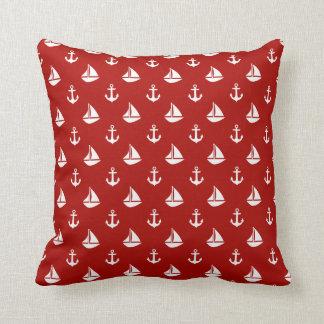 Red Sailboats and Anchors Pattern Cushion