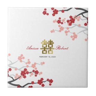 Red Sakura Blossoms Chinese Wedding Gold Gift Tile