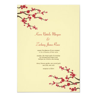 Red Sakura Cherry Blossoms Asian Wedding Invite