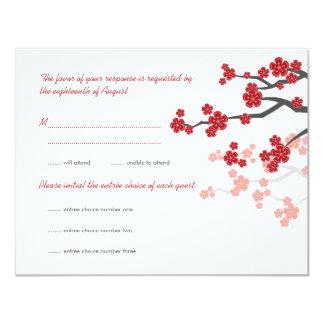 Red Sakura Cherry Blossoms Asian Wedding RSVP Card