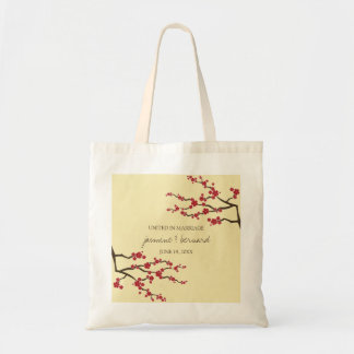 Red Sakura Cherry Blossoms Asian Wedding Tote Bag