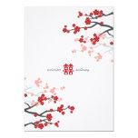 Red Sakura Cherry Blossoms Flowers Chinese Wedding 13 Cm X 18 Cm Invitation Card