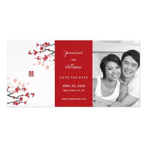 Red Sakura Double Happiness Chinese Save The Date Photo Card