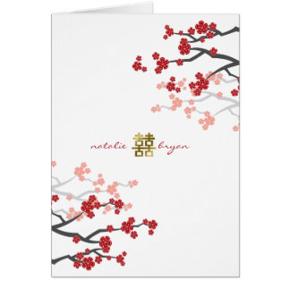 Red Sakura Double Happiness Chinese Wedding Card