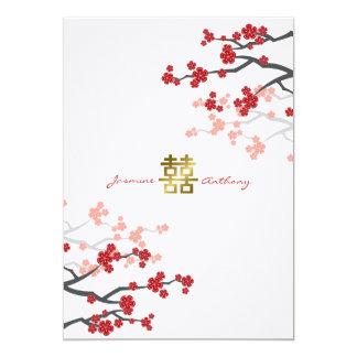 Red Sakura Double Happiness Chinese Wedding Invite
