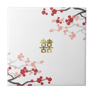 Red Sakura Double Happiness Chinese Wedding Tile