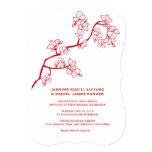 Red Sakura Floral Oriental Modern Wedding Invite