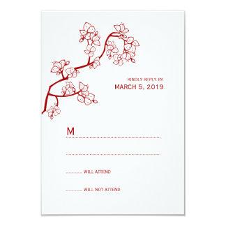 Red Sakura Floral Oriental Modern Wedding RSVP 9 Cm X 13 Cm Invitation Card