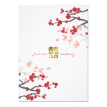 Red Sakura Flowers Double Happiness Wedding Invite 13 Cm X 18 Cm Invitation Card