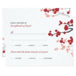 Red Sakura Flowers Double Happiness Wedding RSVP 9 Cm X 13 Cm Invitation Card