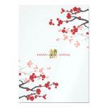 Red Sakura Flowers Gold Double Happiness Wedding 13 Cm X 18 Cm Invitation Card