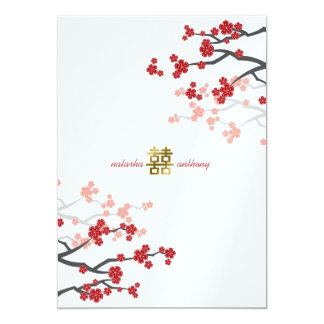 Red Sakura Flowers Gold Double Happiness Wedding Card