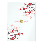 Red Sakura Flowers Gold Double Happiness Wedding 13 Cm X 18 Cm Invitation Card