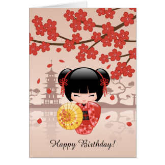 Red Sakura Kokeshi Doll, Cute Geisha Birthday Card
