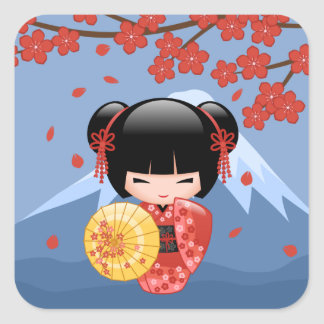 Red Sakura Kokeshi Doll - Cute Geisha Girl Square Sticker