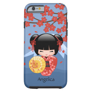 Red Sakura Kokeshi Doll - Cute Geisha Girl Tough iPhone 6 Case
