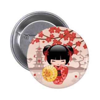 Red Sakura Kokeshi Doll - Japanese Geisha 6 Cm Round Badge