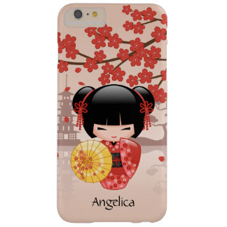Red Sakura Kokeshi Doll - Japanese Geisha Barely There iPhone 6 Plus Case