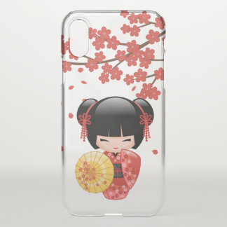 Red Sakura Kokeshi Doll - Japanese Geisha iPhone X Case
