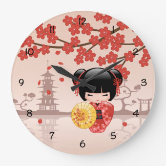 Red Sakura Kokeshi Doll - Japanese Geisha Large Clock
