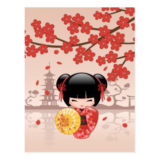 Red Sakura Kokeshi Doll - Japanese Geisha Postcard