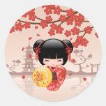 Red Sakura Kokeshi Doll - Japanese Geisha Round Sticker