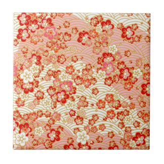 Red Sakura Small Square Tile