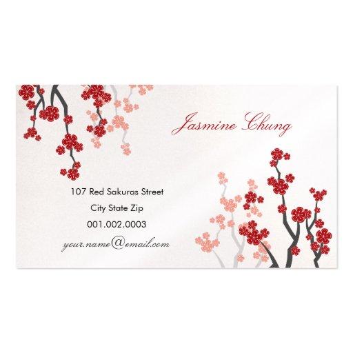 Red Sakuras Cherry Blossoms Oriental Zen Asian Business Cards
