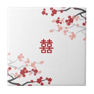 Red Sakuras Chinese Wedding Custom Gift Tile
