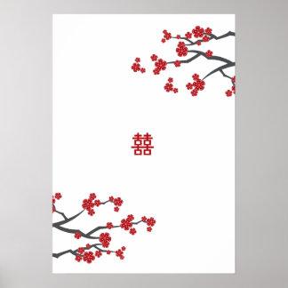 Red Sakuras & Double Happiness 2 Wedding Poster