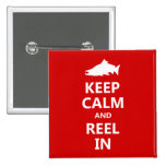 Red Salmon Keep Calm and Reel In 15 Cm Square Badge