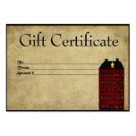 Red Saltbox House- Prim Gift Certificate Gift Card Pack Of Chubby Business Cards