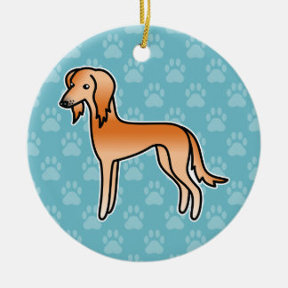 Red Saluki Cartoon Dog Round Ceramic Decoration