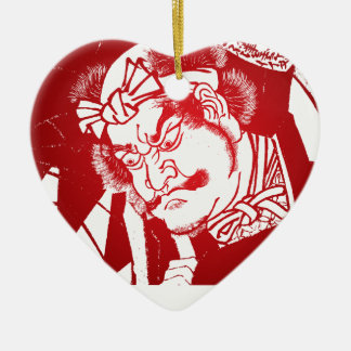 Red Samurai Japanese Ceramic Heart Decoration