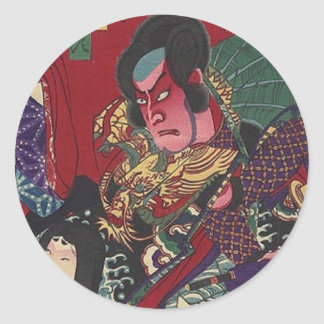Red Samurai Round Sticker
