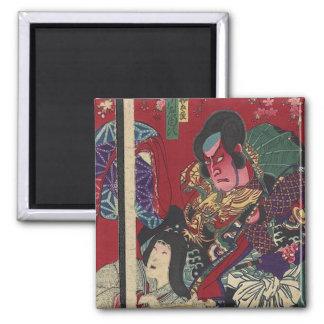 Red Samurai Square Magnet