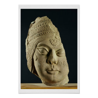 Red sandstone head of Yakshi, Bharhut, 2nd century Poster