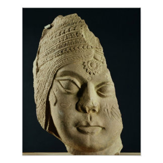 Red sandstone head of Yakshi, Bharhut, 2nd century Poster