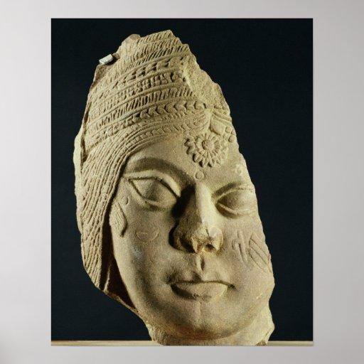 Red sandstone head of Yakshi, Bharhut, 2nd century Posters