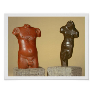 Red sandstone male torso and grey sandstone dancer poster