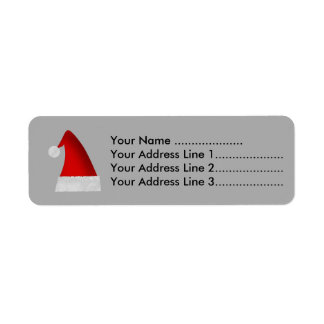 Red Santa Christmas Hat Return Address Label