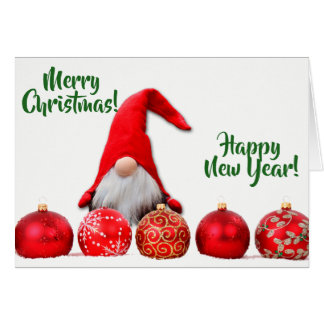 Red Santa Gnome Christmas Card