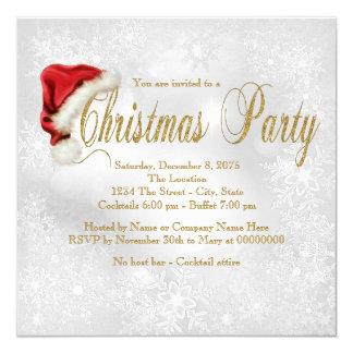 Red Santa Hat Snowflake Christmas Party Inivtation 13 Cm X 13 Cm Square Invitation Card