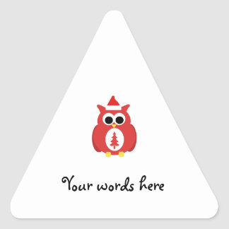 Red santa owl triangle stickers
