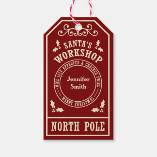 Red Santa's Workshop North Pole Christmas tags