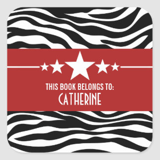 Red Sassy Star Zebra Bookplate Stickers