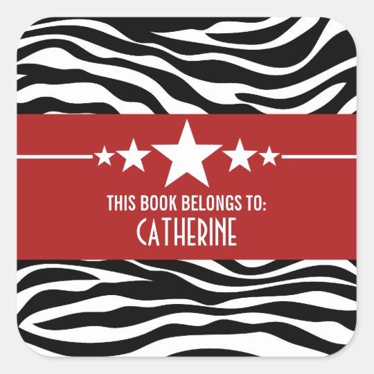 Red Sassy Star Zebra Bookplate Stickers