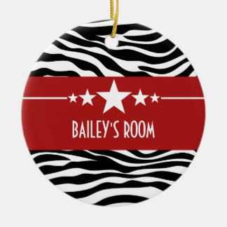 Red Sassy Star Zebra Ornament